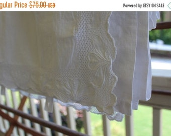 HOLIDAY SALE - Antique European Bedding - Button on Sheet - Linen - Clovers - A K Monogram