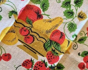 BIG SALE - Vintage Linen Towel - Fruit Basket Linen - Drying Towel - Apples Cherries