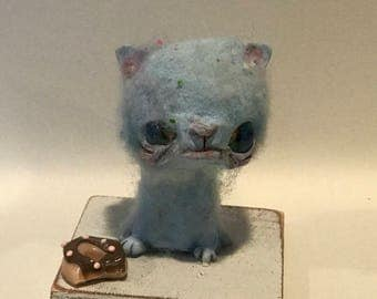 Benny the blue kitty and her donut Ooak   art doll