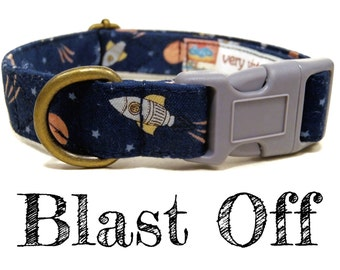 "Sci Fi Dog Collar - Rocket Space Dog Collar - Spaceship Planets Outer Space  Dog Collar - Antique Brass Hardware - ""Blast Off"""