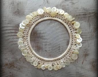 Crocheted Lace Bracelet, Small, Handmade, Original, Vintage Buttons, Beige, Variegated Thread, Monicaj