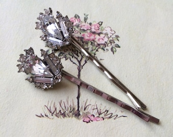 Rhinestone Hair Pins, Silver Tone, Upcycled Vintage Earrings, Set of Two