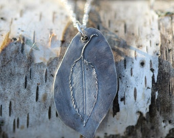 wisconsin hickory leaf necklace wildflower boho and  hippie necklace pmc yoga chi jewelry