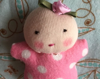 small dolls, polka dot baby, Waldorf toys, gift for little girl