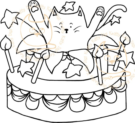 Digi Stamp Instant Download Surprise Kitty Cake With And