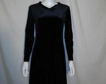 90's velvet long sleeve midi short dress
