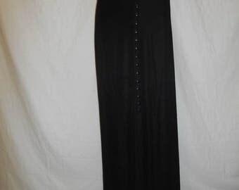 90s Black Ribbed Skirt, 90s Minimalist Skirt, Long Black Skirt