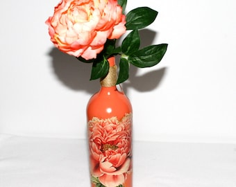 Peach Floral Wine Bottle Decorated Recycled Gift Handmade Housewarming