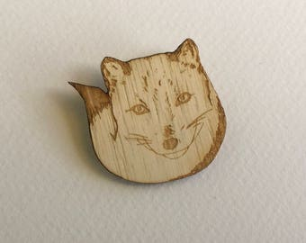 Arctic Fox Brooch - Wooden Original Wearable Art - Animal Brooch Woodland Eco