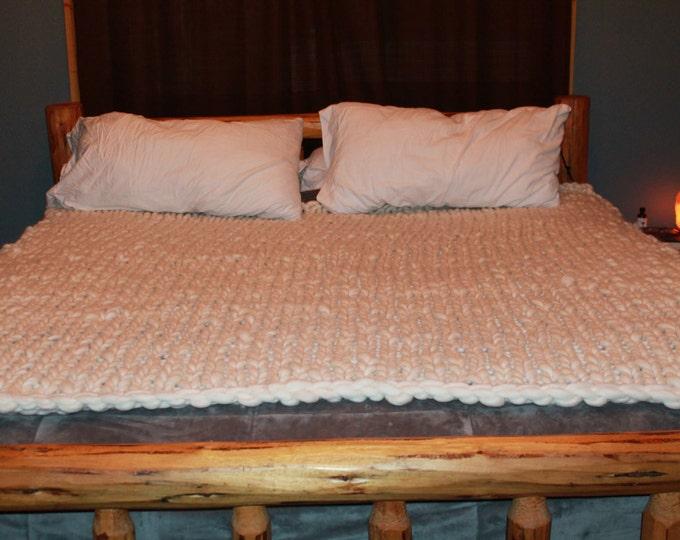 Huge Chunky Knit King Size Bed Blanket. Super Soft Handspun Merino Wool. Warm. Soft. Cozy. 70x75in