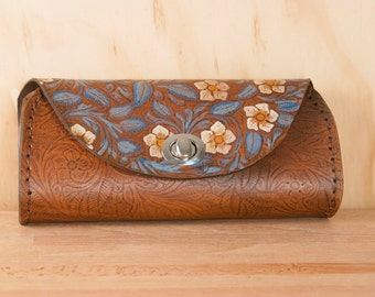 Leather Clutch - Handmade in Tooled Floral Leather in Blue and Brown - Leather Purse, Clutch, Wristlet, or Waist Bag