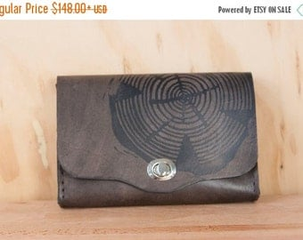 JANUARY SALE Leather Clutch Purse - Handmade Waist Bag in the Big Woody Pattern - Classic Style Box Wristlet in Black Leather