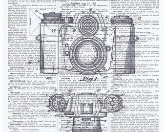 Patent.Camera.Snapshot.Original Instagram.Gift.Retro.Book Page Collage Print.Home Deco,Old School.artist.mom.dad.photographer.vintage.plans