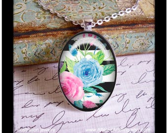 Black and white #4, original art pendant and matching gift box, birthday gift, Mother's day pendants, gifts for mom, Spring, flowers