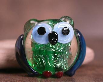 Lampwork Glass Owl Bead Dichroic Glass Divine Spark Designs SRA