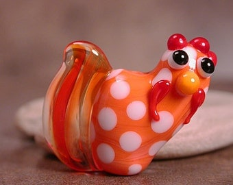 Lampwork Glass Rooster Focal Bead Chicken Divine Spark Designs SRA