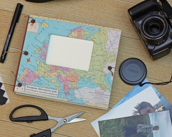 Europe Scrapbook Travel Album - Gift for Travelers - Personalized photo album with envelopes - Honeymoon Scrapbook -  Expandable