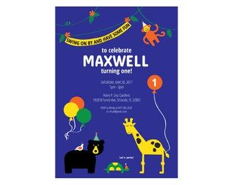 Birthday Invitation - Party Animals