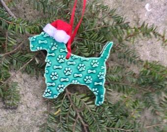 Santa Scotty Ornament In Green