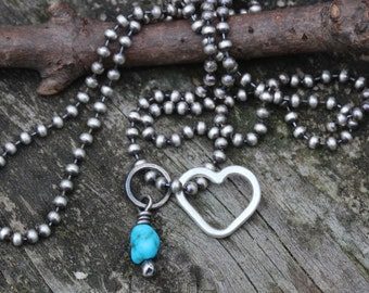 Sterling silver heart sleeping beauty turquoise ball chain necklace