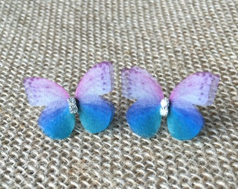 Purple Blue Organza Butterfly Clear Crystals Silver Stud Earrings