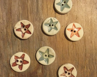 FREE SHIPPING Set of 7 Handmade Mini Ceramic Buttons - Stars