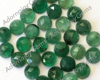 Gemstone Cabochon Emerald 5mm Rose Cut FOR ONE