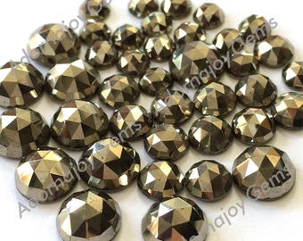 Gemstone Cabochon Pyrite 8mm Rose Cut FOR ONE