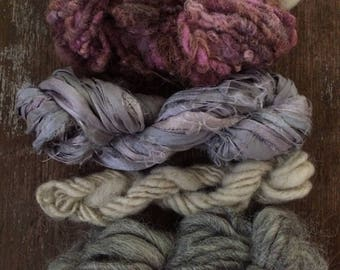 Four mini skeins, greys and blues, handspun miniskein texture pack yarn, 40 yards, art yarn set, weaving yarn set, textured yarn,