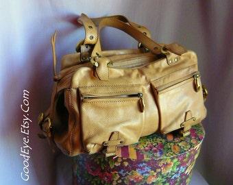 Vintage Leather SAFARI Purse / Large Lots of POCKETS / Double Handle COMMUTER Travel Bag Tan / Handbag made Bulgaria