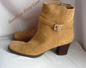 Vintage Suede Leather Ankle Boots Suede/ size 8 M Eur 38.5 UK 5.5 /Chunky HEEL Booties Square Toe / Side Zipper Beige Sand
