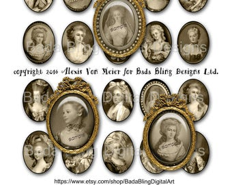30mm x 40mm, Marie Antoinette, Before The Fall, sepia...INSTANT Download, sepia collage sheets for jewelry, Marie Antoinette collage sheets