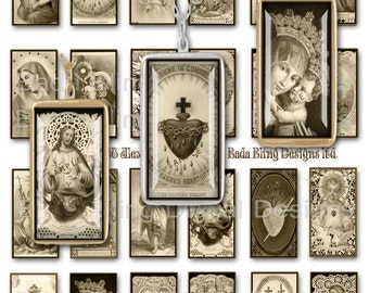 1 X 2, Antique Religious Images,  INSTANT DOWNLOAD at Checkout,religious collage sheets, Catholic pendants, sepia collage sheets
