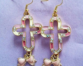 Sweet Lolita Pink Cross Bow Sparkly Earrings