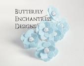 Something Blue Wedding Hair Flowers, Beach Bridal Hair Accessories, Bridesmaid Gift - 12 Lt Blue Mini Buttercup Hair Pins - Rhinestone