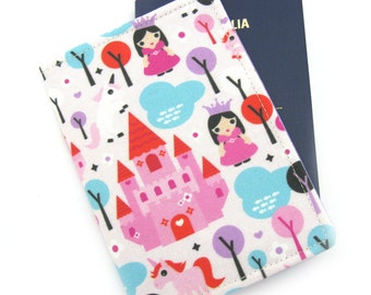 Princess and Her Unicorn  Girls Passport Cover, Kids Passport Holder, Childrens Passport Wallet, Passport Case, Travel Gift