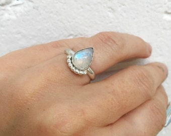 Moonstone peacock ring - made to order, choose your size