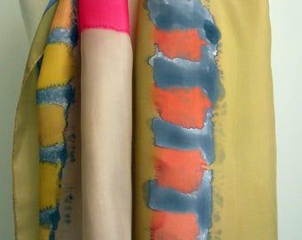 Hand Painted Silk Scarf.Woman Silk Scarf.Hand Painted Silk Shawl.Wedding Gift..55x18.Giveaways.Ideas for her.Silk shawl