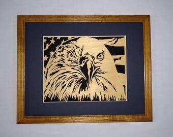 Eagle and flag scroll art