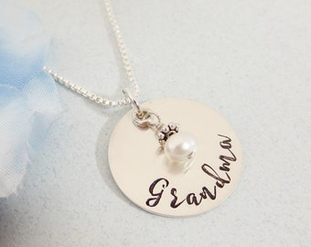 Grandma Necklace - Personalized Necklace - Freshwater Pearl Necklace  - Gift for Grandmothers - Hand Stamped Jewelry - Sterling Silver