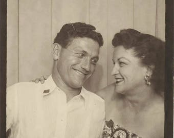 vintage photo 1949 Cute Couple Photo Booth Large Size In Love photobooth