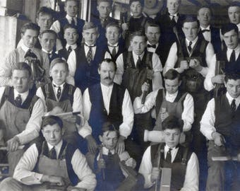 vintage photo High School Boys Wood shop Class Woodworking Tools RPPC