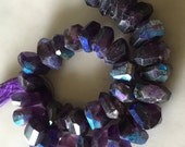 Amethyst Irregular Bread Slice Center Drilled Faceted AB Gemstone Beads Aurora Borealis Finish