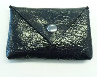 "Small black leather coin purse, Black varnished leather coin pouch, Black leather purse, MALAM, 10. x 7 cm (4x2.7"")"