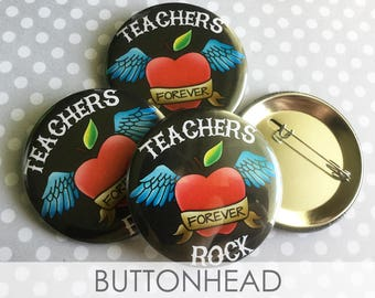 10 Teacher Appreciation Week Gifts - Teacher Appreciation Day - Teachers Rock Buttons Pins