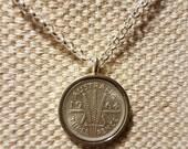 Vintage Australian three pence coin pendant / 1942 coin / petite silver pendant / belcher chain