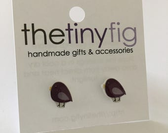 Limited Edition: Purple Bird Earrings | Sterling Silver Posts Studs | Gifts For Her