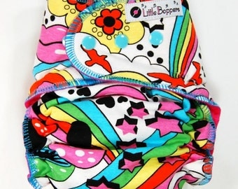 Custom Cloth Diaper or Cover - Groovy Girl - You Pick Size and Style - Colorful Girly Baby Style - Made to Order Nappy or Wrap