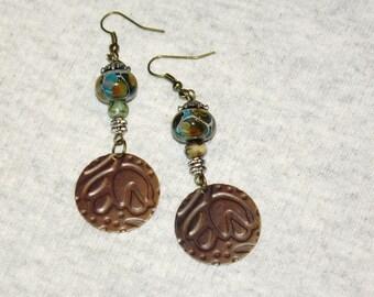 """Jewel  Tone Boho Earrings Brass and Lampwork Bead 2.5"""" Dangles Gypsy Girl Festival Bohemian Earrings"""