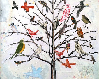 Babel - 8.5X11 limited edition print of a tree filled with all different kinds of birds